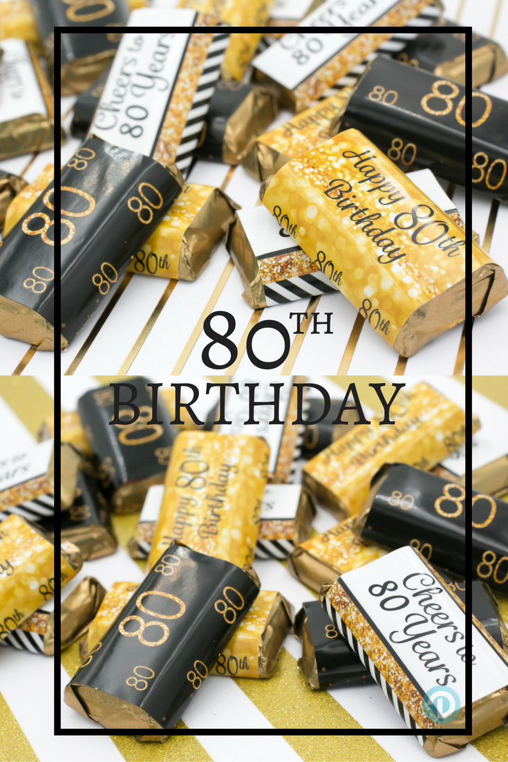 Celebrate This Special Birthday Milestone With These Gold And Black 80th Party Favor Stickers That Will Be A Sure Hit At Your