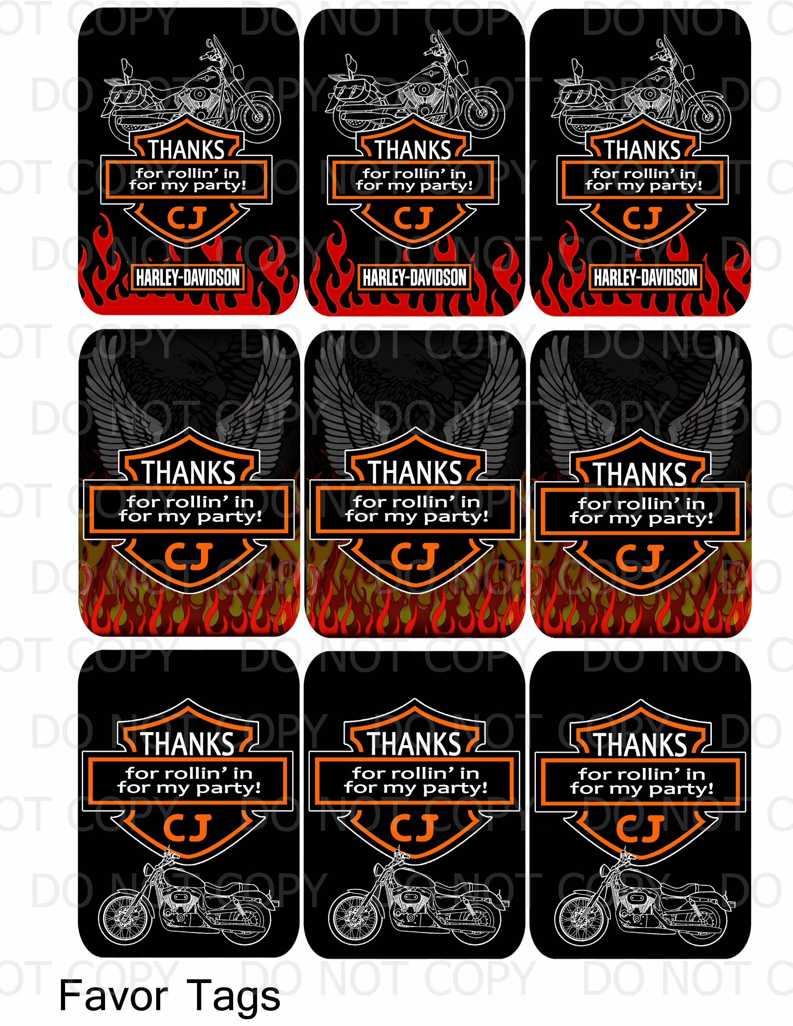 Harley Davidson Birthday Party Favor Tags