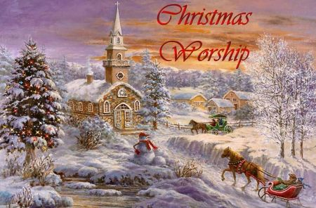 Christmas Worship f2 - painting, church, art, wide screen, December, occasion, artwork, sleigh, snow, Christmas, illustration, winter, holiday