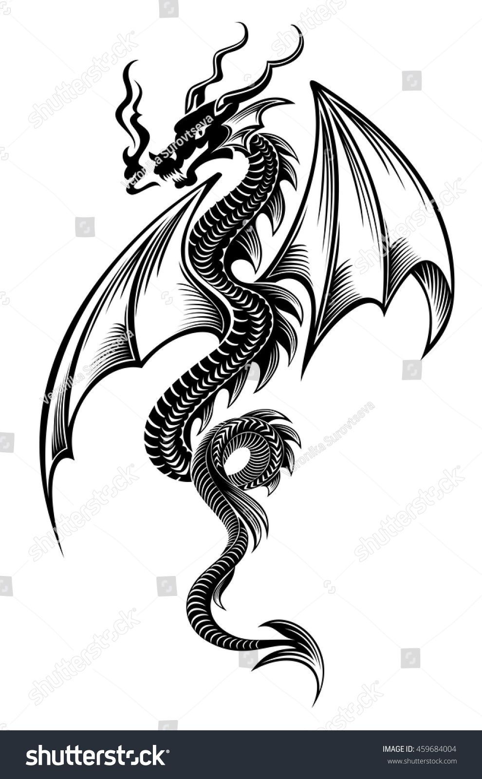 Black azure tribal dragon tattoo vector illustration sárkány