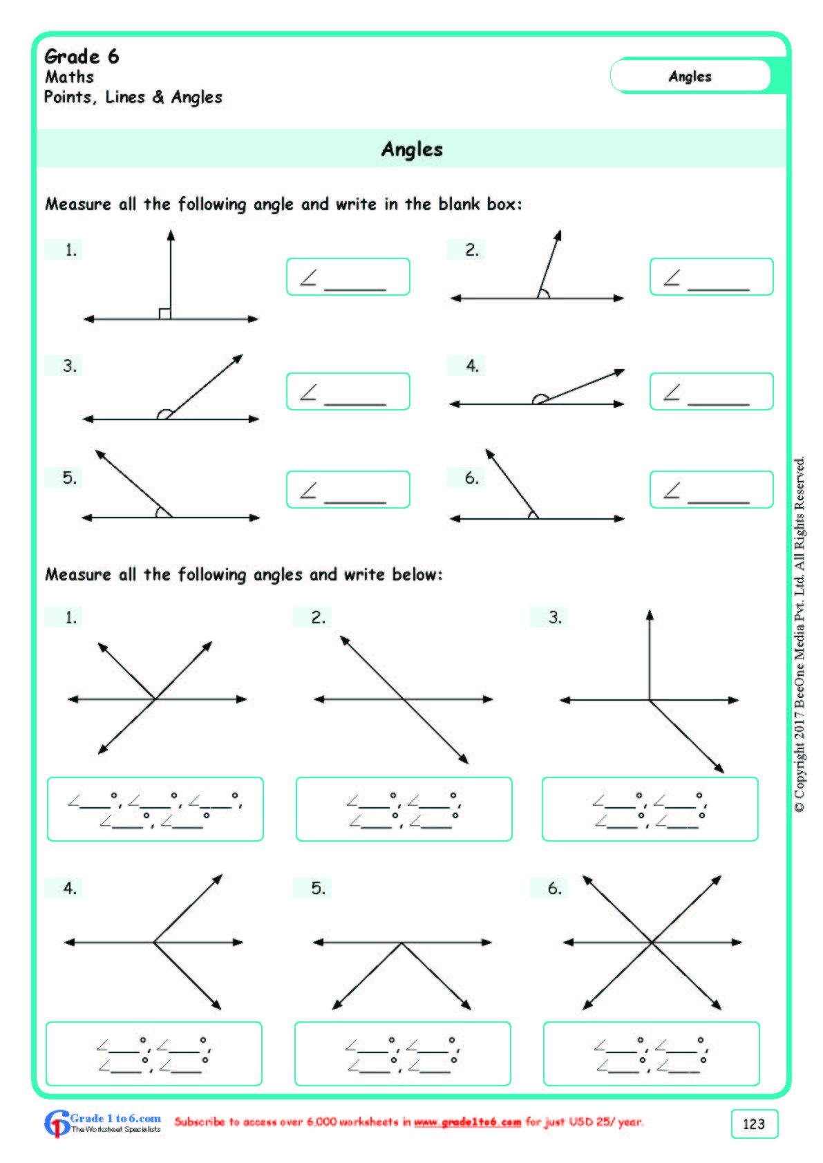 Worksheet Grade 6 Math Angles In