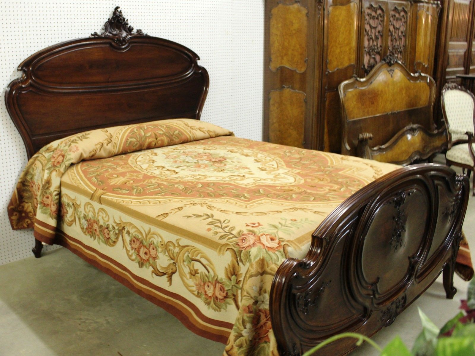 Antique country french louis xv queen bed solid walnut hand carved