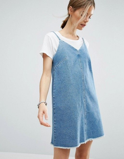In Wash Asos T Denim Blue Looks Com Dress Hem With Raw Mid Slip ArYHqwY8na