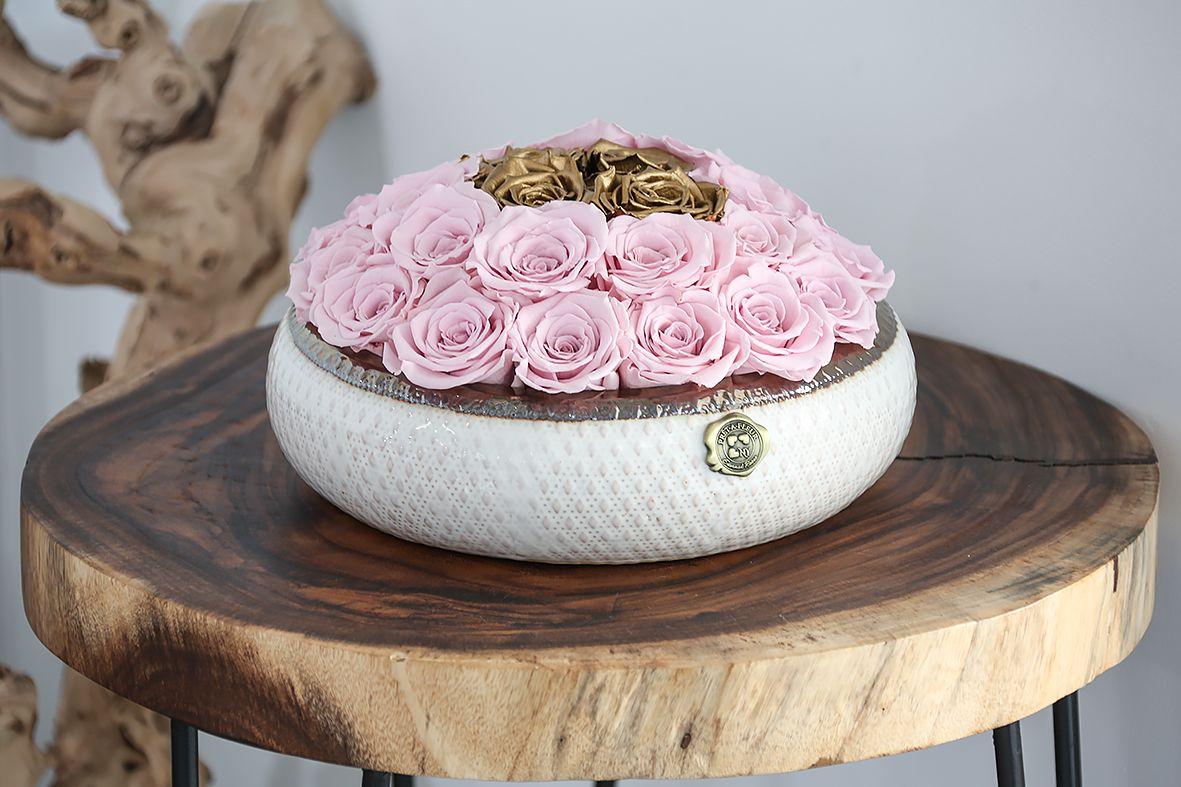 Soho Rose Arrangement In Blush & Gold, medium Blush