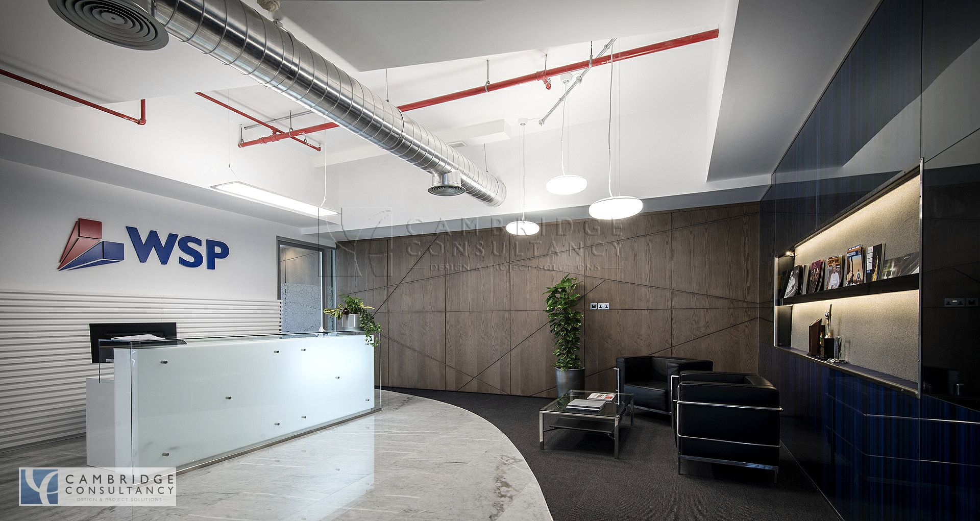 Wsp office modern design open ceiling industrial for Office design cardiff