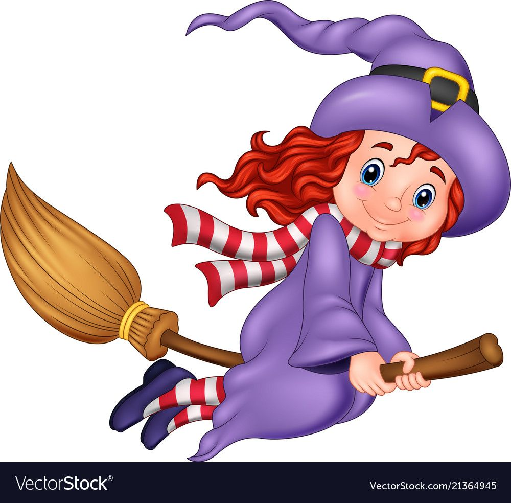 Cartoon Young Witch Flying With A Broom Vector Image On Bruxas