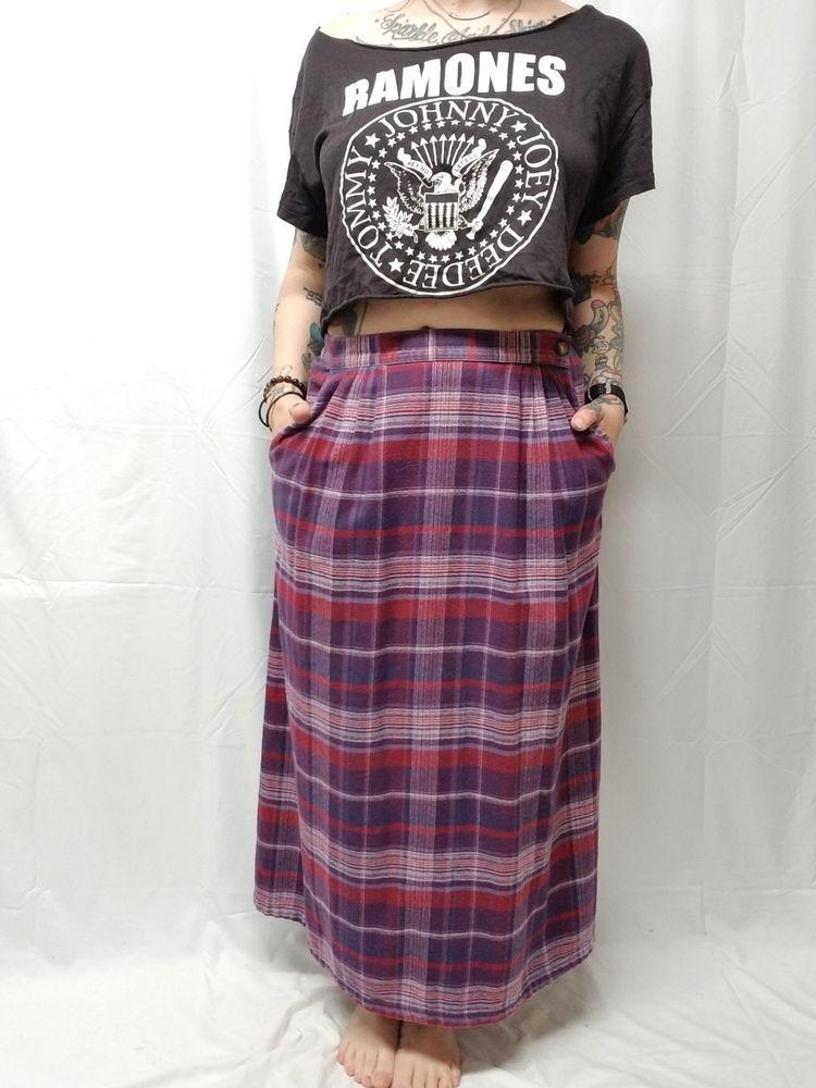 2dbebb71a5 ORVIS 100% Cotton Flannel Maxi Skirt Womens 12 Purple Plum Plaid Pockets  #Orvis #Maxi