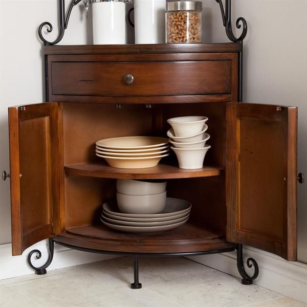 Corner Bakers Rack With Storage Extraordinary Corner Bakers Rack With Wrought Iron Frame And Wood Storage Shelves Inspiration