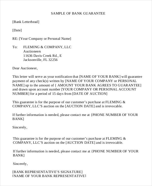 Awesome Agreement Letter Of Guarantee Pics  Complete Letter Template