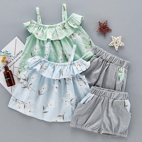 47a4004994db Lovely Baby Girl Flower Printed Strap T-Shirt Solid Pants Two Piece ...
