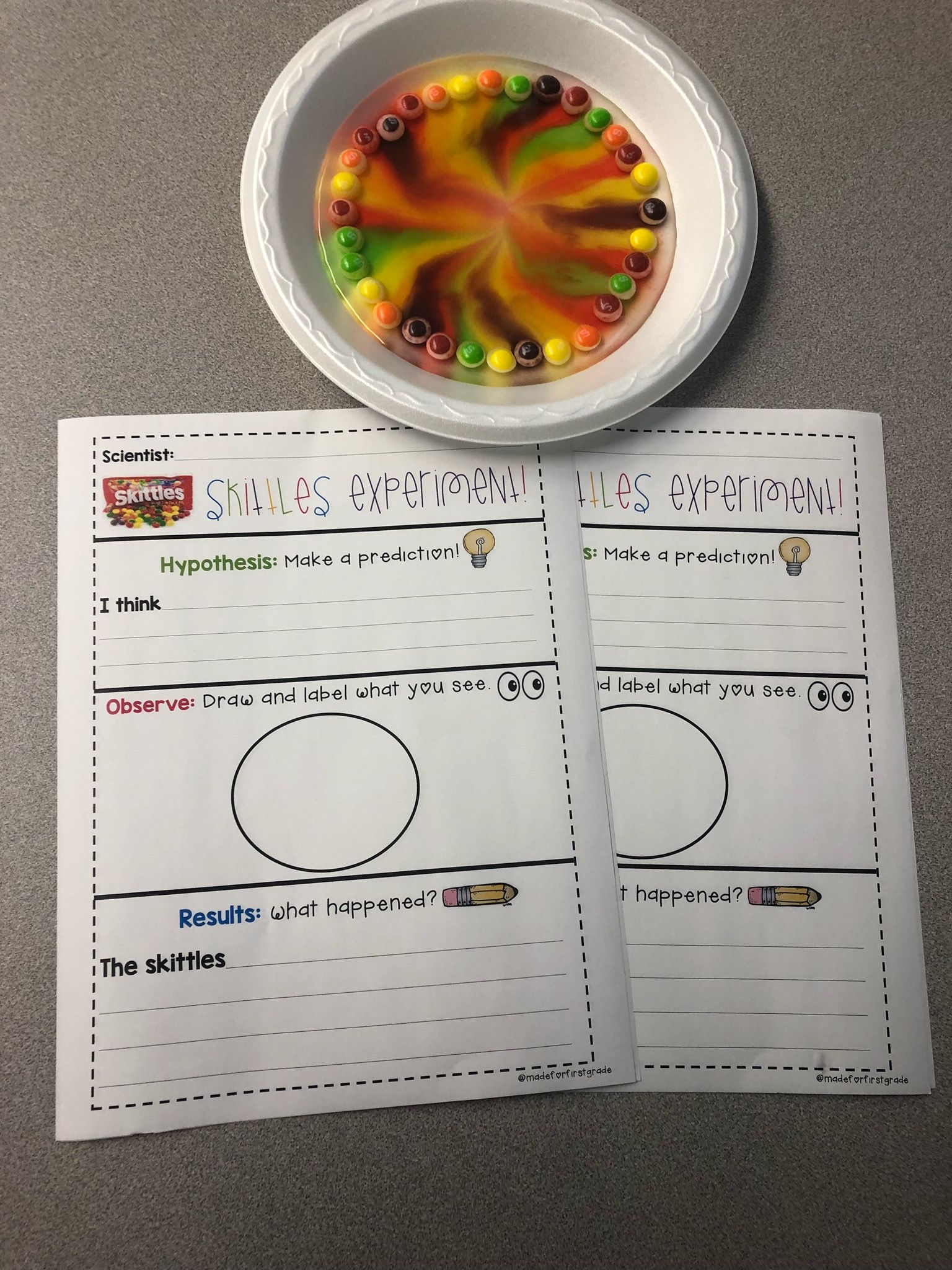 Experiment Recording Sheets Skittles And Cornstarch