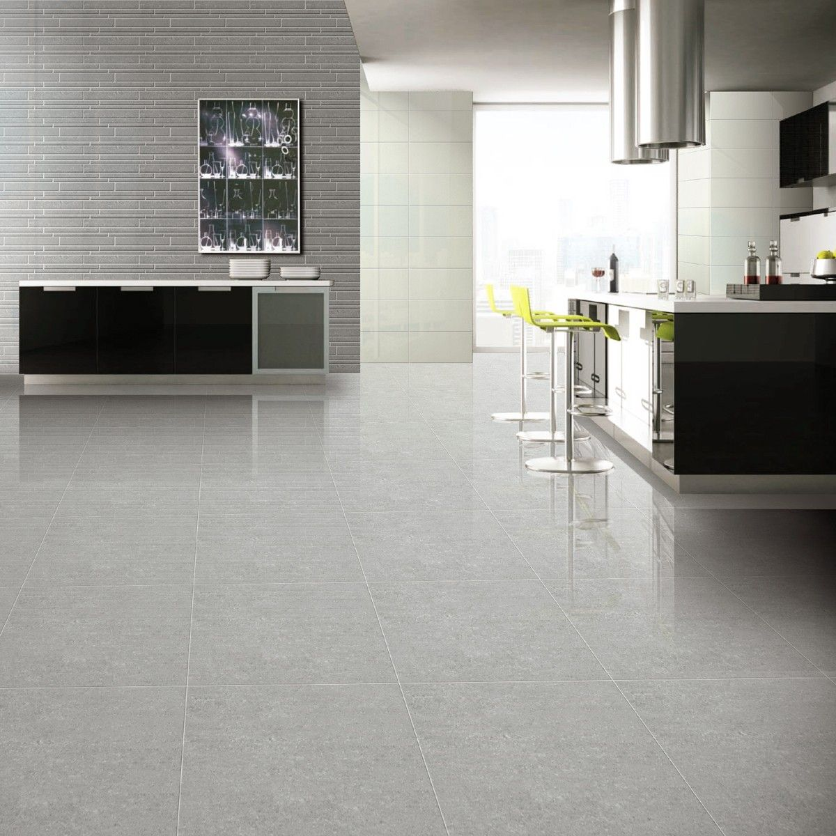 Porcelain kitchen floor tile - 60x60 Super Polished Grey Porcelain Floor Tiles Tile Choice