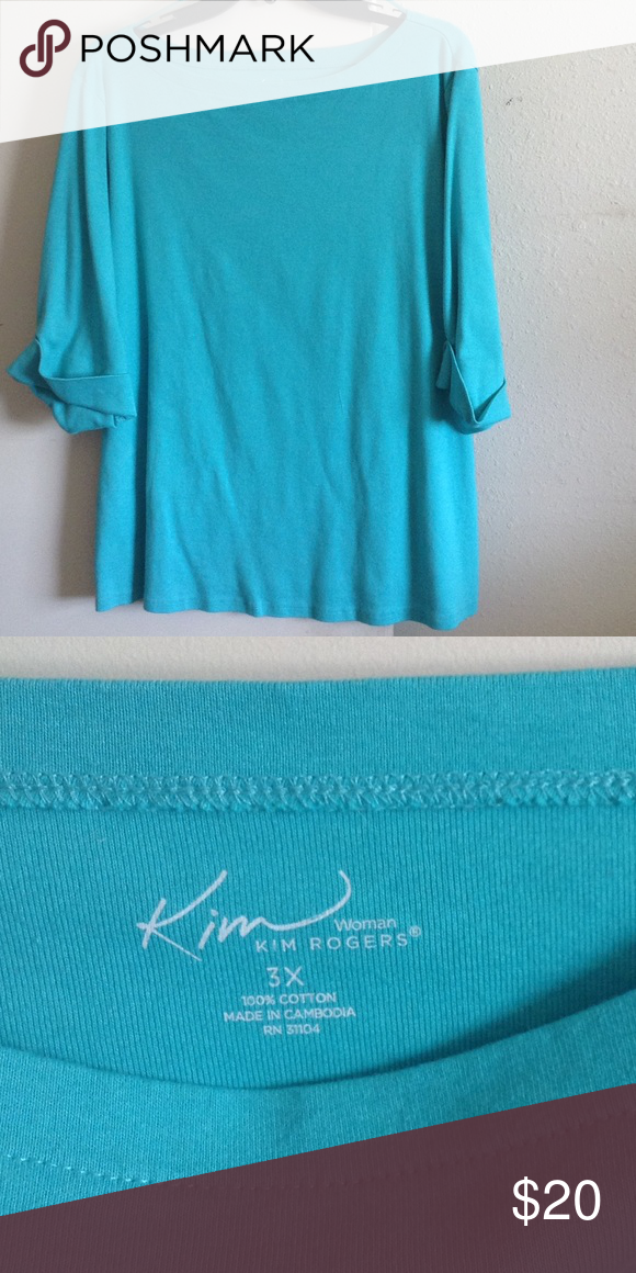 💦Kim Rogers Scoop Neck Top💦 Heavy cotton scoop neck with cuffed 3/4 sleeves, great hang, in excellent used condition Kim Rogers Tops