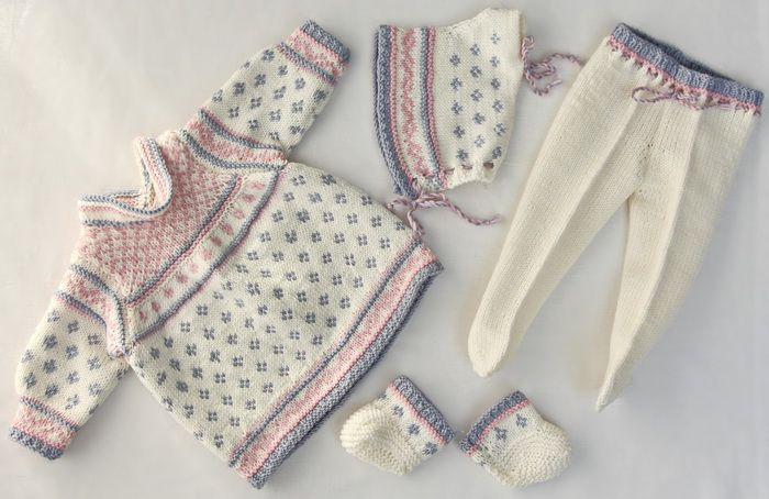 Knitted doll clothes pattern - a light summer dress in white, blue grey and pink