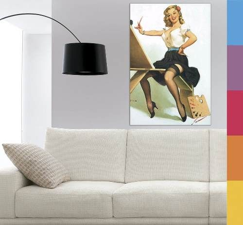 Quadro Decorativo Tela Em Canvas - Pin Up 60x90cm