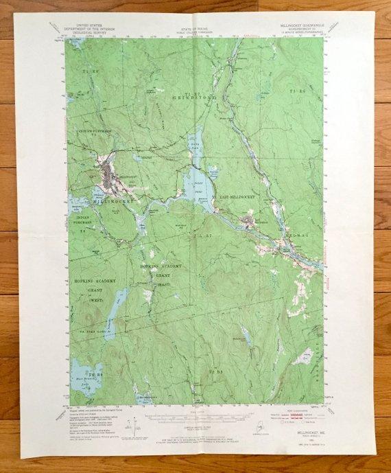 Antique Millinocket, Maine 1951 US Geological Survey ...