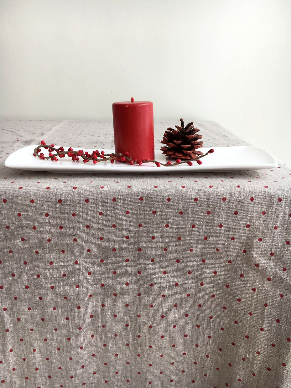 Christmas Tablecloth Red Polka Dots Natural Linen Table Cloth