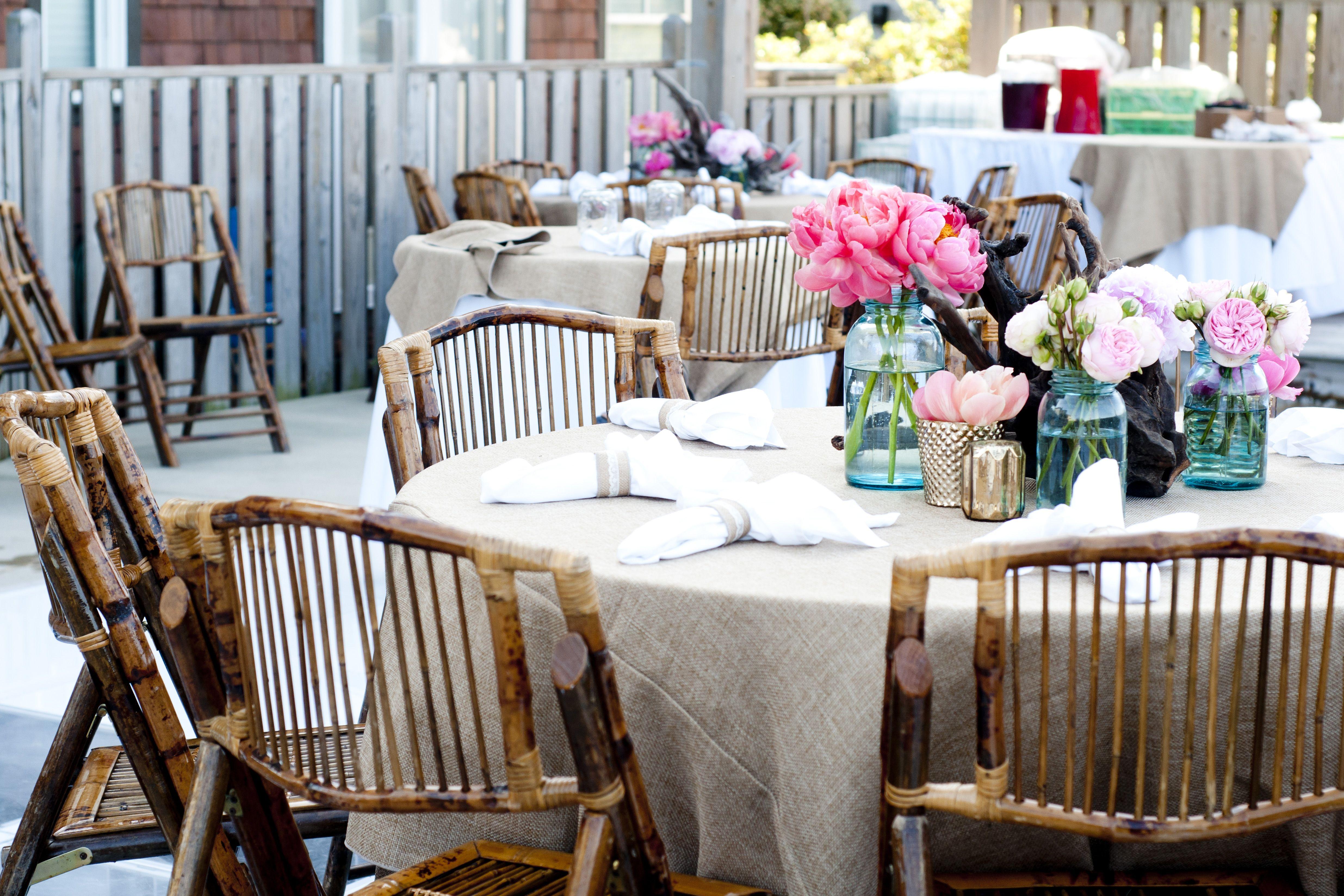 reception, peonies, mason jars, driftwood, burlap, lace, perfection  @Jordan Bauman Photography   Ginger Harvey @Renee Peterson Landry