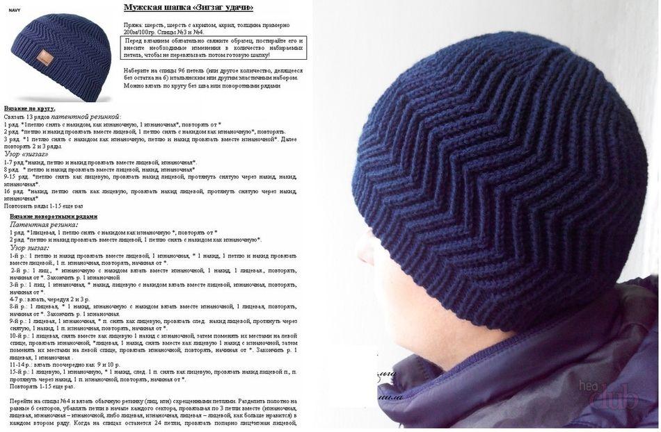 мужская шапка крючком и спицами схема и описание как связать