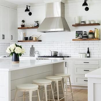 Shiplap Island with Round White Stools | New kitchen in ...