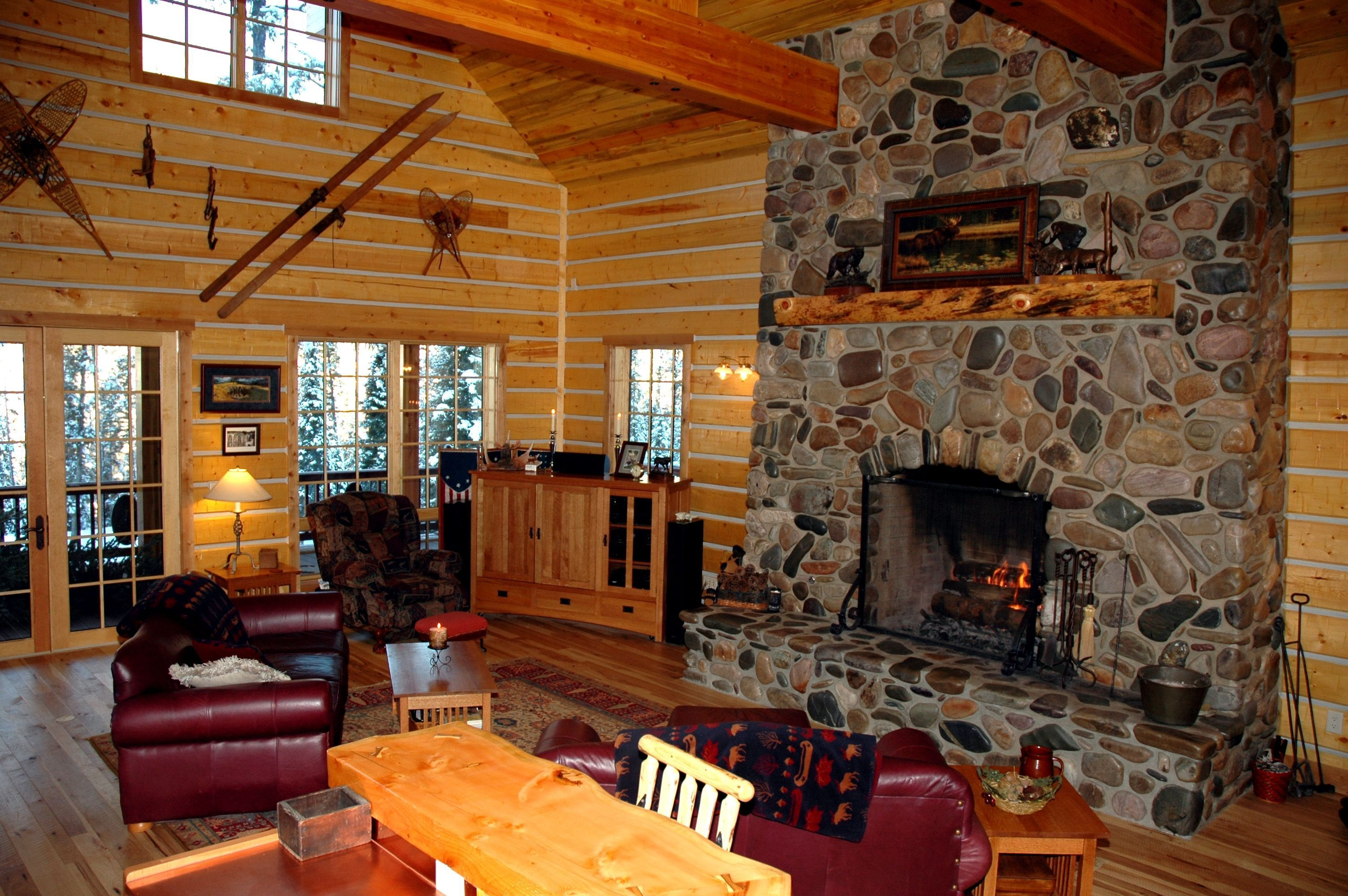 Log Cabin Fireplace Ideas - Log Home Interior Decorating ...