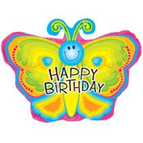 Bulk Butterfly Shaped Happy Birthday Foil Balloons 22 At DollarTree