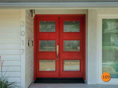 modern style 5 ft 6 8 fiberglass double doors therma tru ari 3