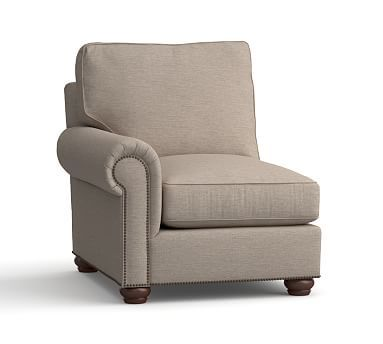 Webster Roll Arm Upholstered Left Arm Chair w/BRZ NH, Down Blend Wrapped Cushions, Sunbrella(R) Performance Sahara Weave Mushroom