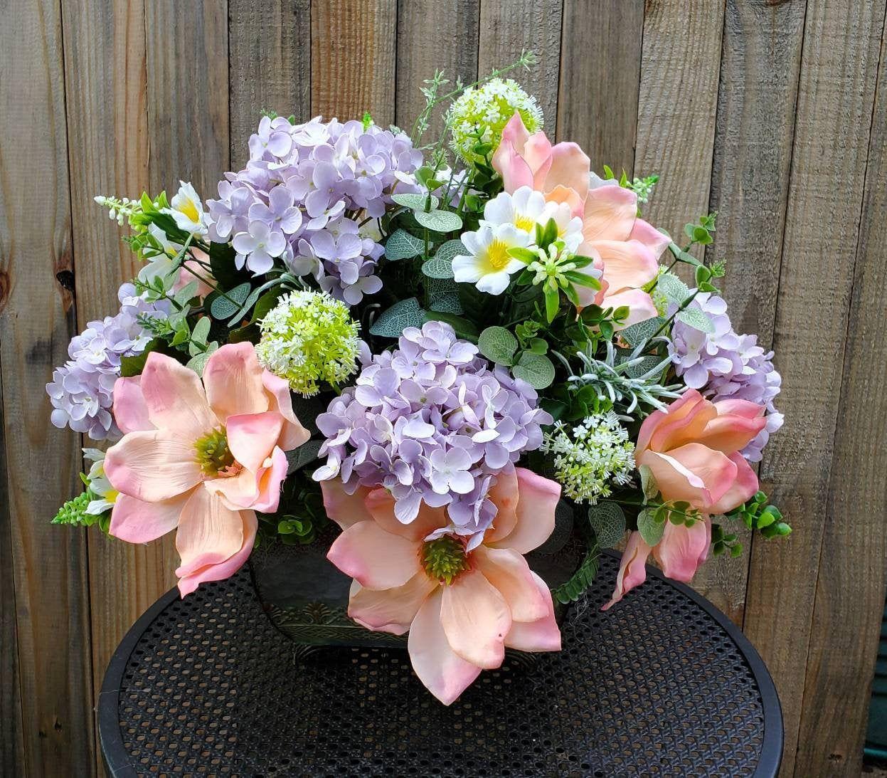 Hydrangea And Magnolia Centerpiece For Dining Table Summer Etsy In 2020 Magnolia Centerpiece Hydrangea Purple Summer Hydrangeas