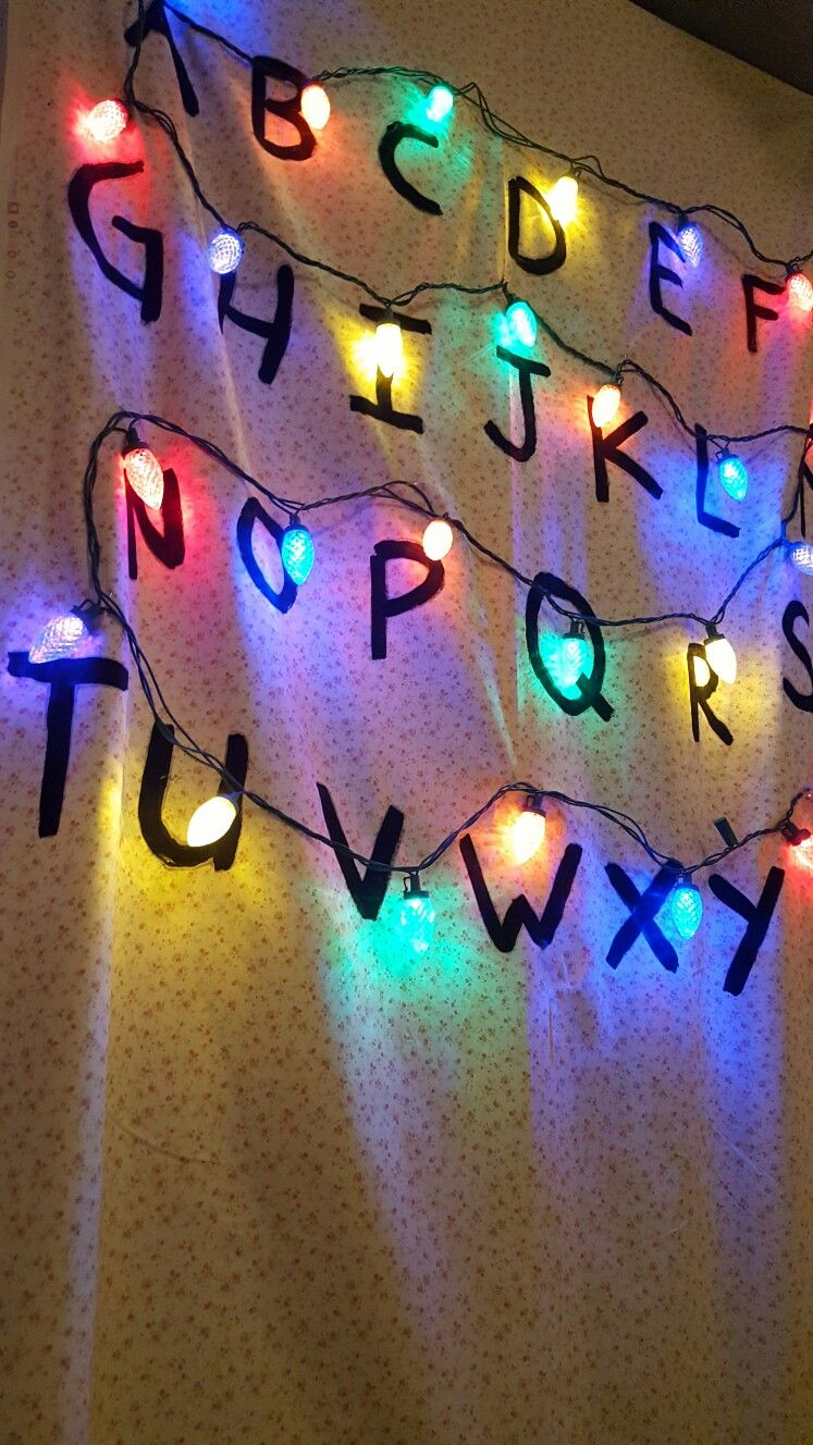 Stranger Things Diy Wall Old 80s Style Fabric Christmas Lights Pinned Acrylic Paint Great For Stranger Things Wall Stranger Things Lights Stranger Things