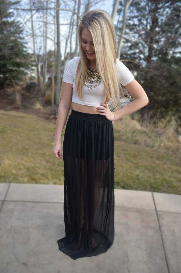 Electric Feel Maxi Skirt - Black