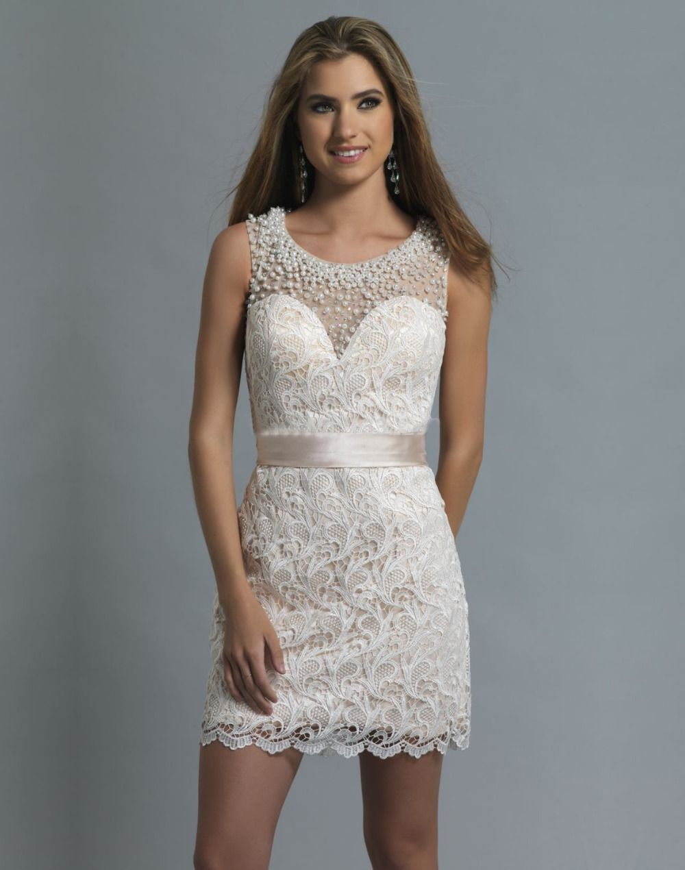 Click to buy ucuc elegant oneck pearls beading lace short prom