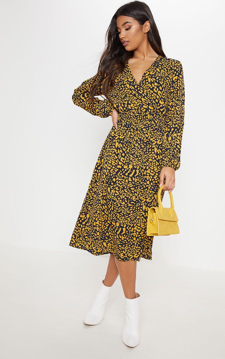 Black Leopard Print Wrap Front Shirred Midi Dress Midi Dress Printed Shirt Dress Striped T Shirt Dress [ 1180 x 740 Pixel ]