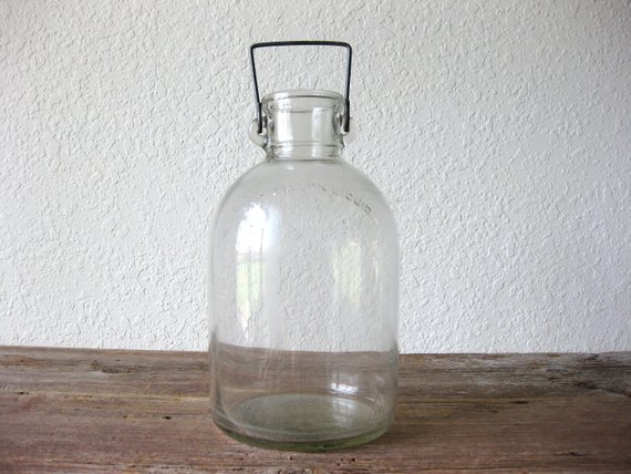 Vintage Large Clear Glass One Gallon Jug With Metal Bail Carboy Large Glass Bottle Large Glass Bottle
