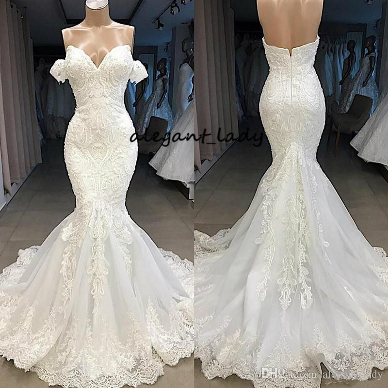 2019 Dubai Arabic Wedding Dresses Lace Appliques Off: Luxury Mermaid Wedding Dresses 2019 Modest Beadwork Lace