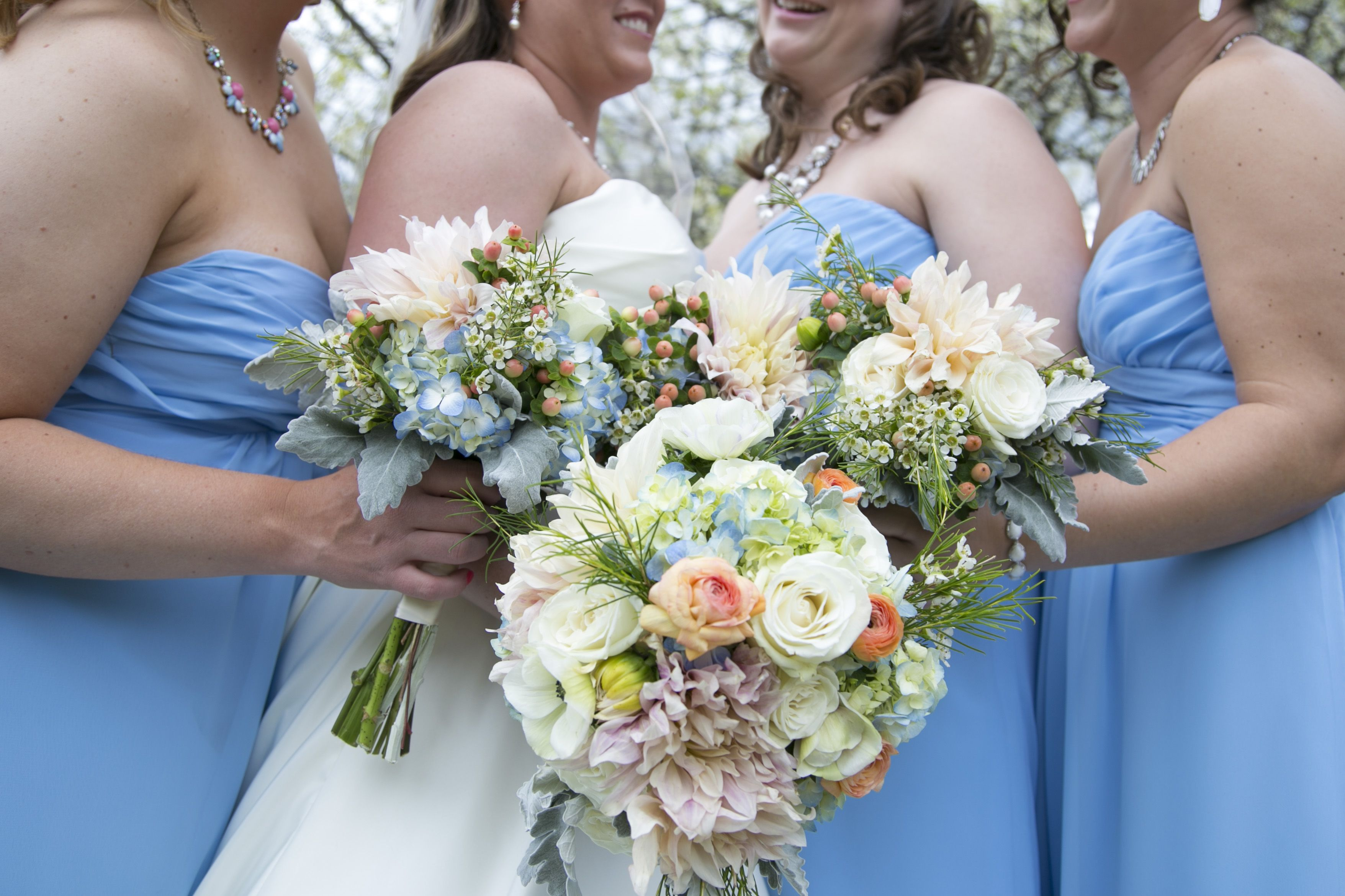 Hand Tied Bouquet Of Light Blue Hydrangea White Anemone With Blue