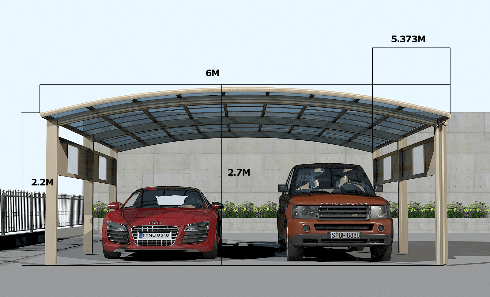 Double Carport Data sheet Luxury 2 cars carport for double