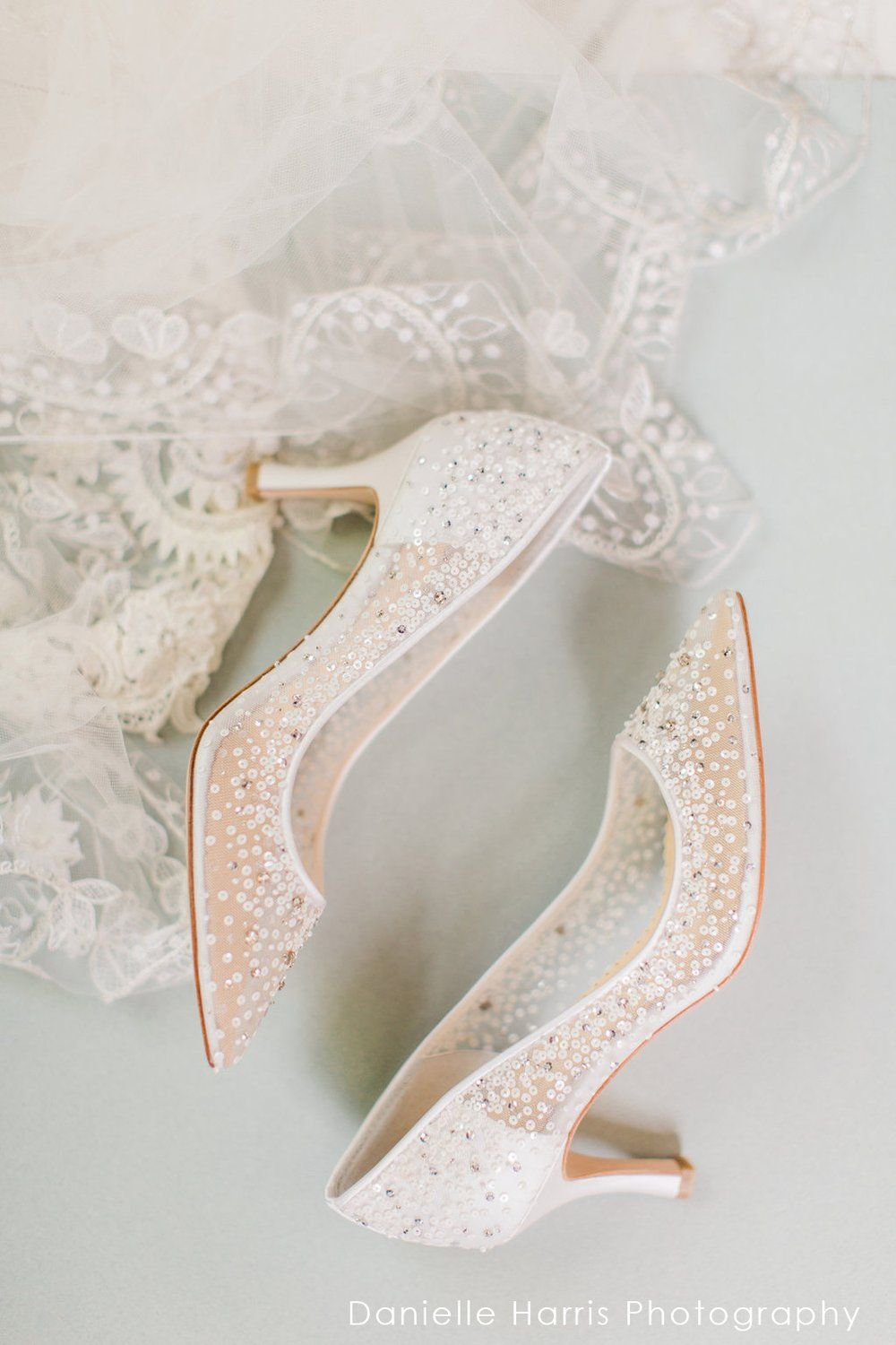 Evelyn Sparkly Sequin Low Heel Ivory Wedding Shoe Wedding