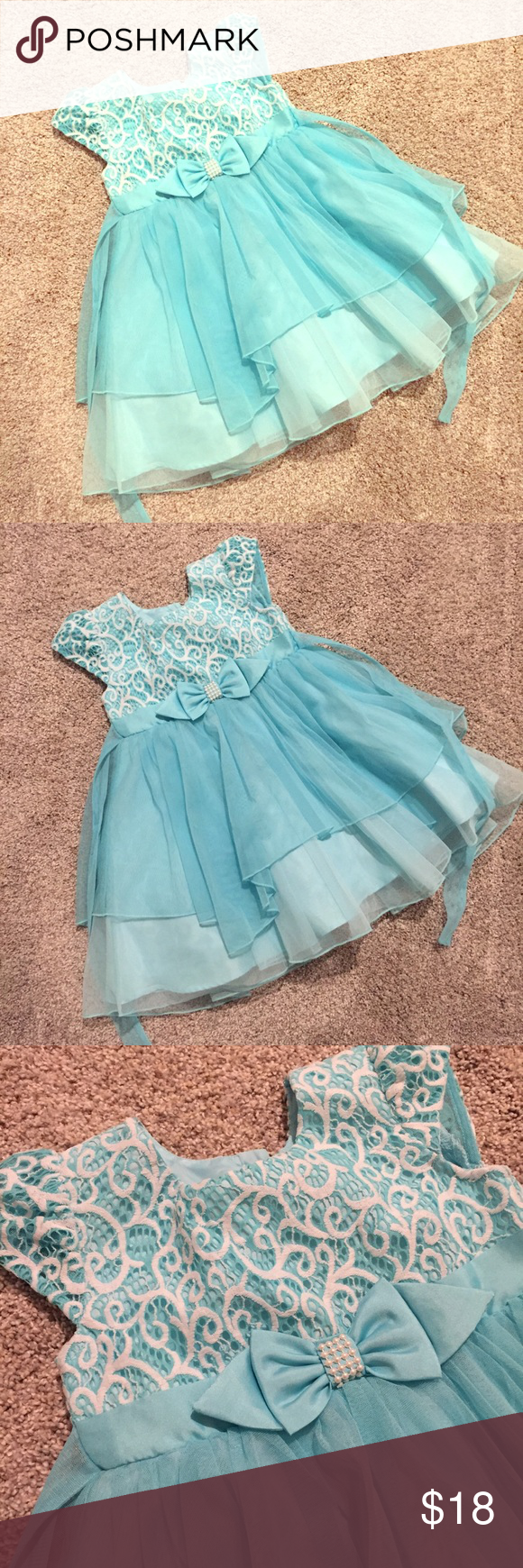 ❄ Little Girl Party Dress ❄ | Blue party dress, Blue party and ...