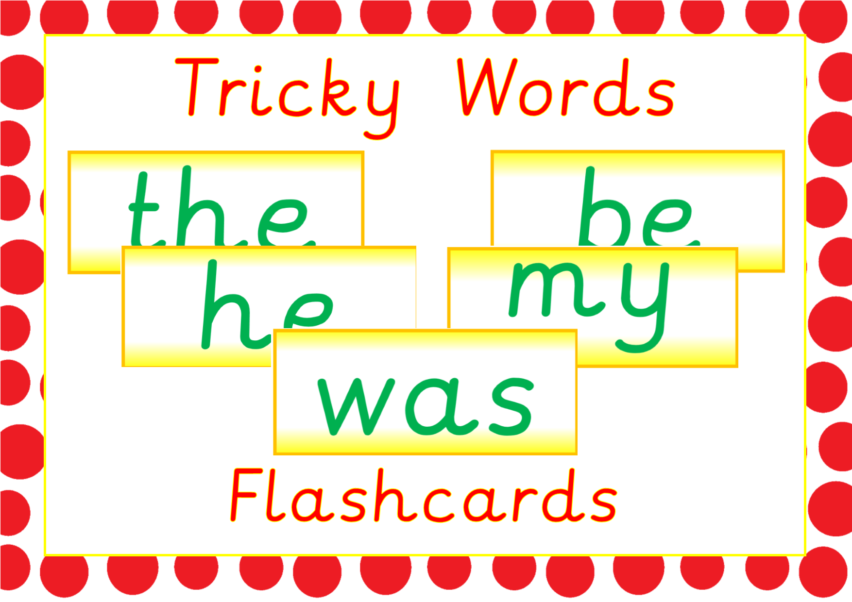 Phase 2 And 3 Tricky Word Flashcards Available On