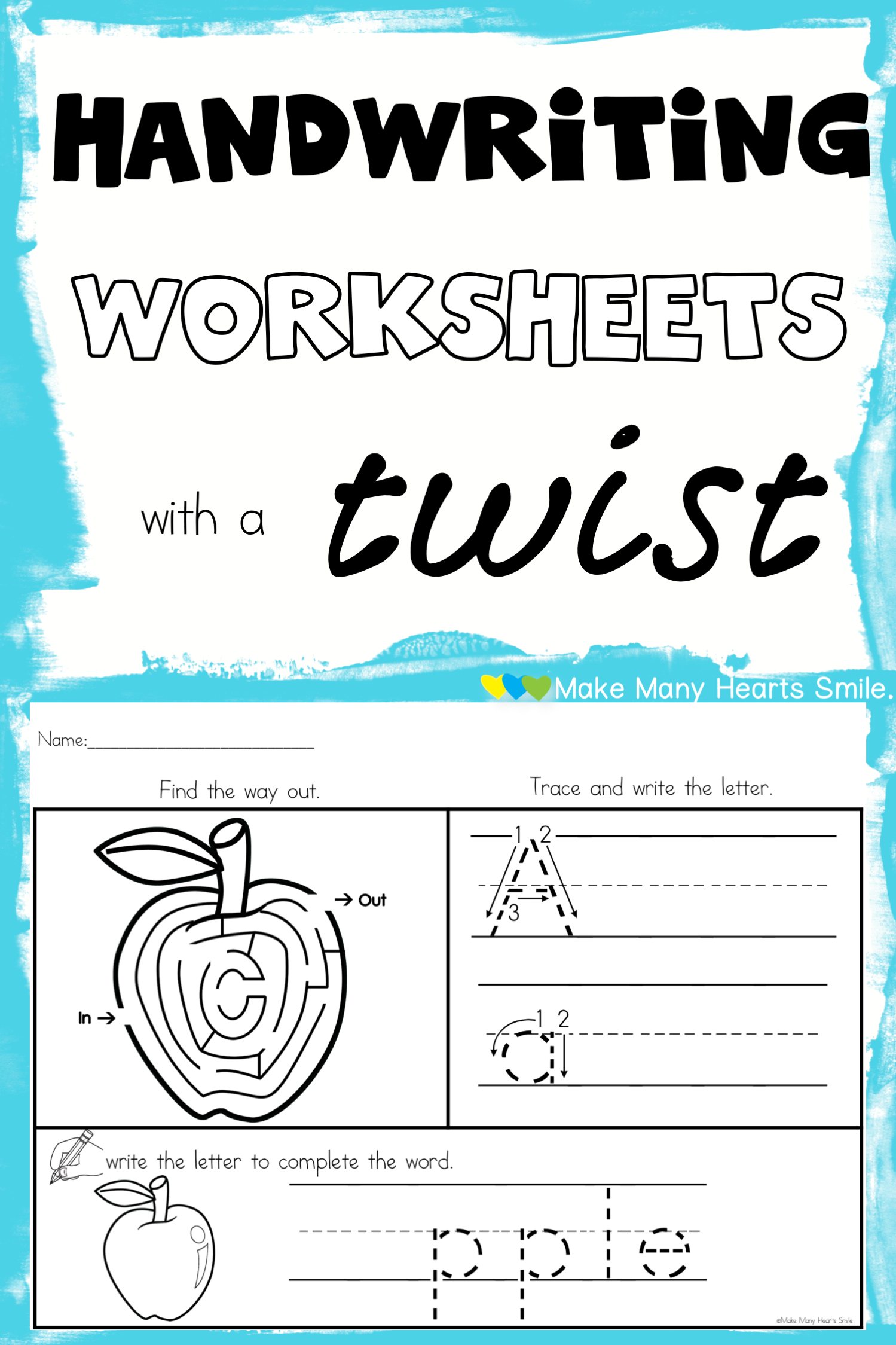 Handwriting Worksheets With Picture Mazes And A Page For