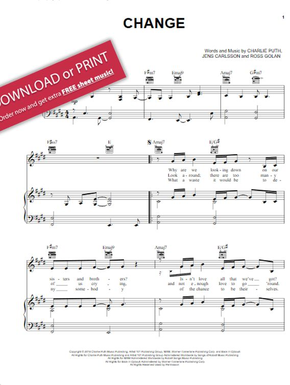 Charlie Puth Change Sheet Music Piano Notes Chords Sheet Music In