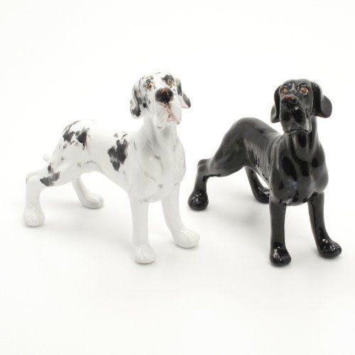 Great Dane Dog Ceramic Figurine Salt Pepper Shaker Uncrop Ears