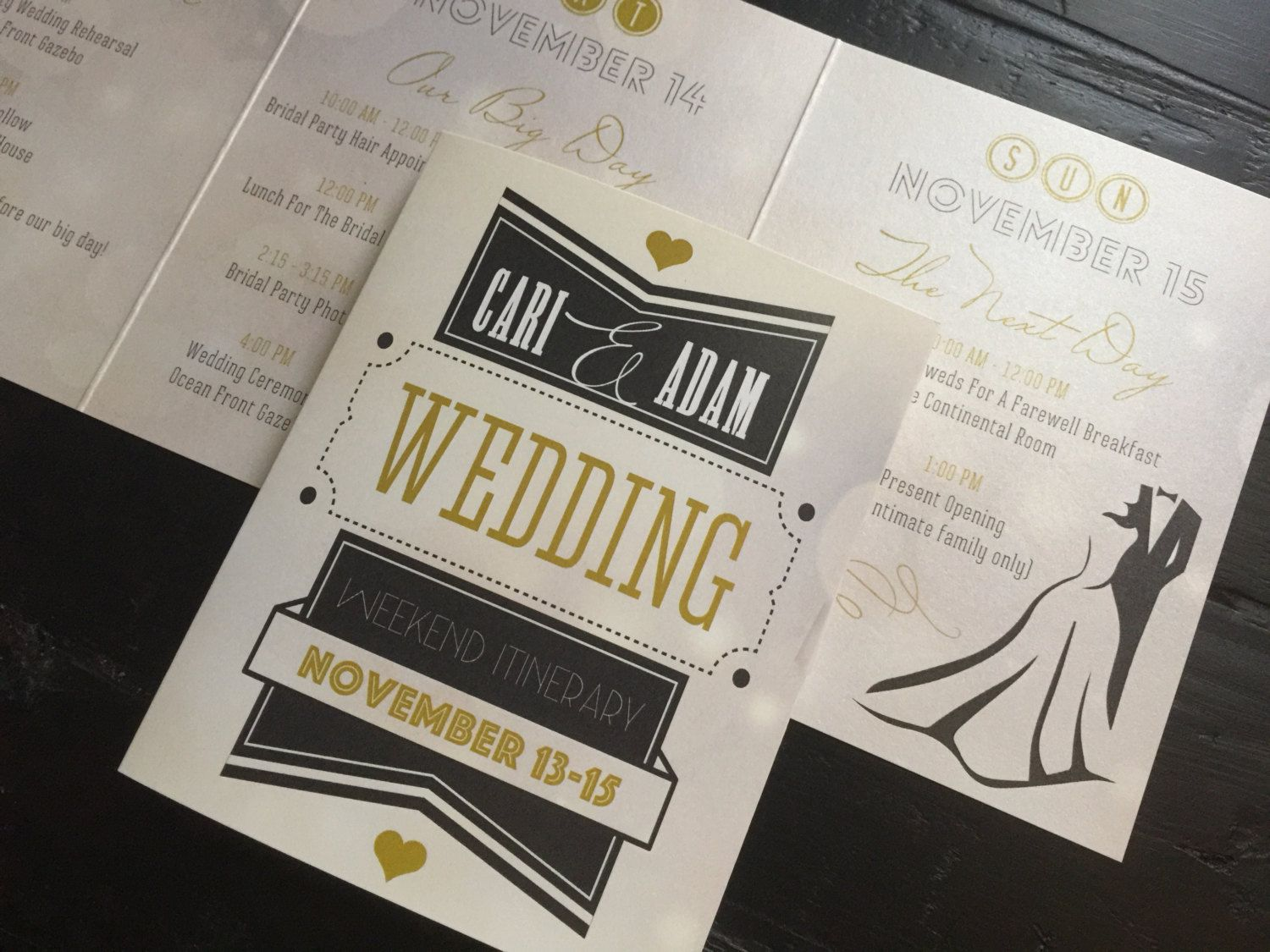 Las Vegas Wedding Weekend Itinerary Trifold by
