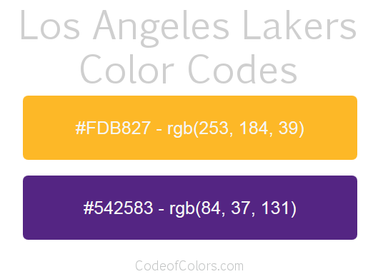 Los Angeles Lakers Team Color Codes Lakers Colors Los Angeles Lakers Lakers Logo