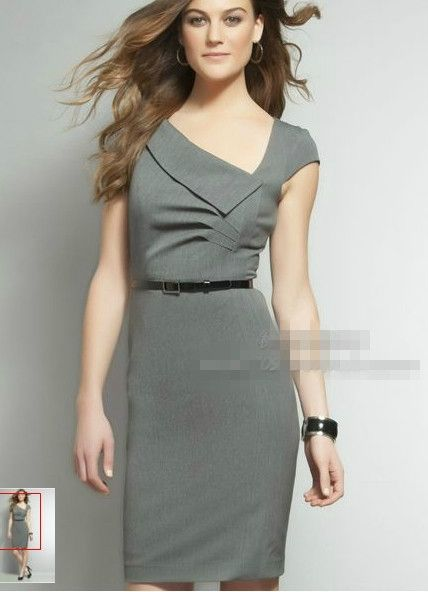 Free Shipping 2017 Las Fashion Design Grey Short Sleeve Office Lady Dress With A Belt 201711ak01 In Dresses From Arel Accessories On Aliexpress