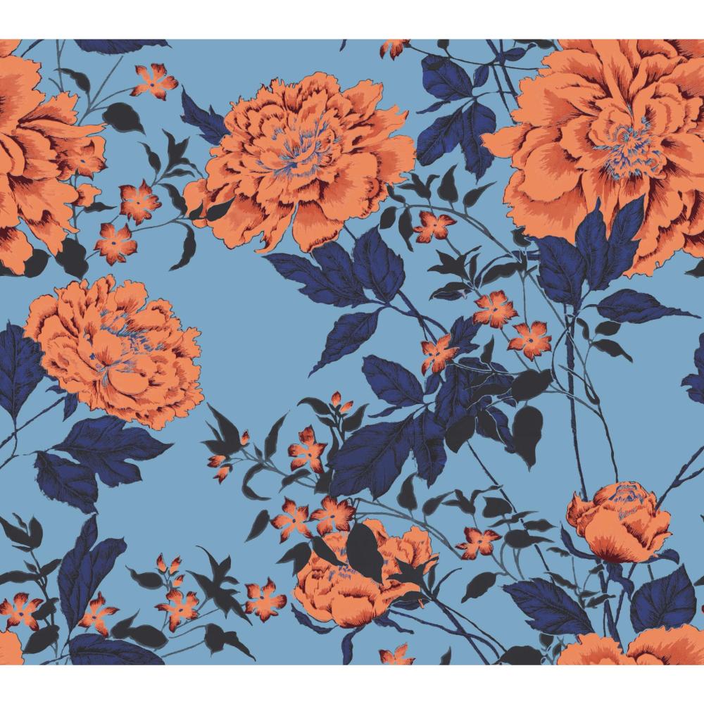 Orange And Blue Vintage Floral Peel And Stick Wallpaper By Drew Barrymore Flower Home Walmart Com Peel And Stick Wallpaper Vintage Floral Wallpaper