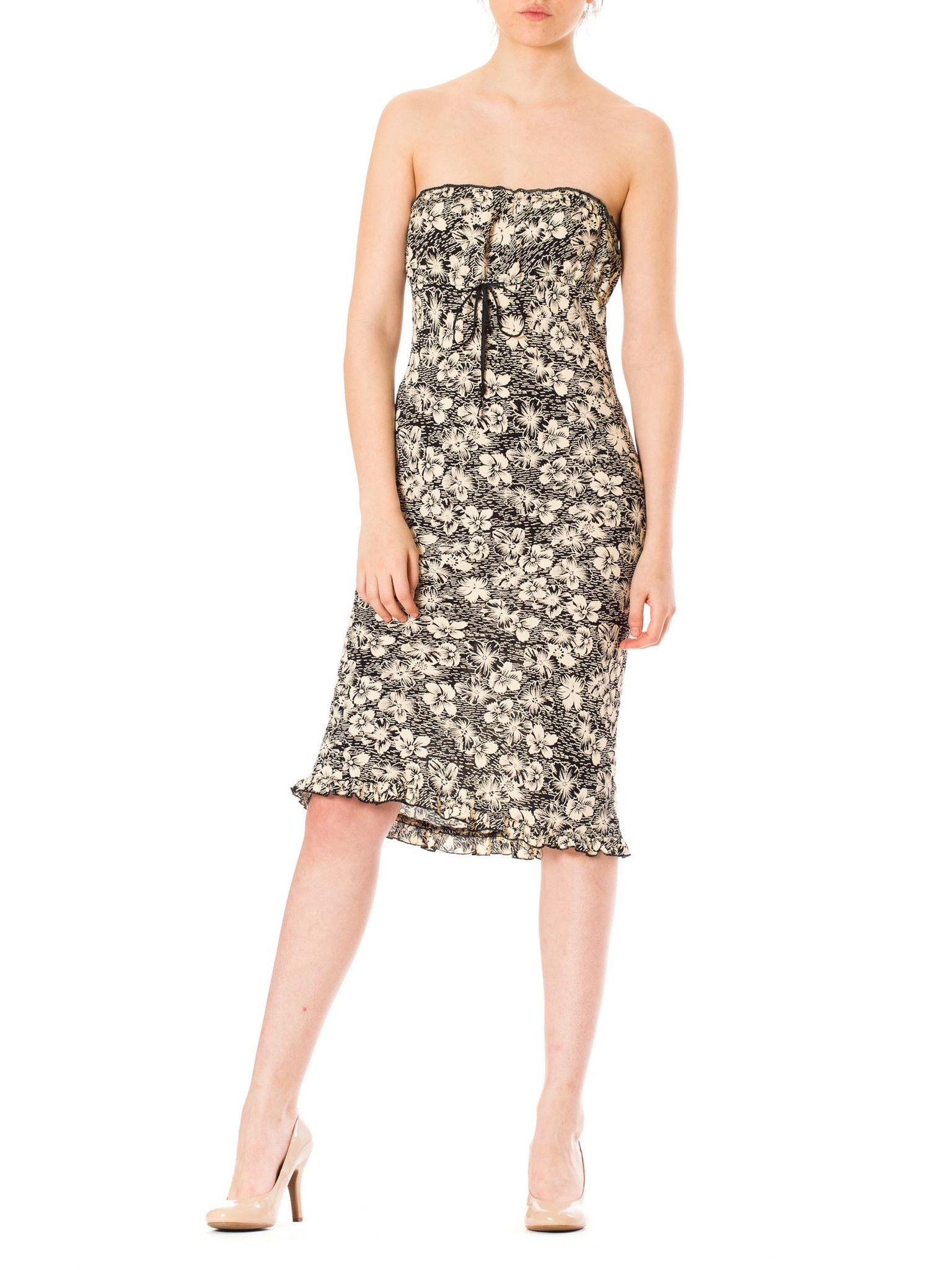 1980s Strapless Black & White Tropical Floral Print Mini Dress