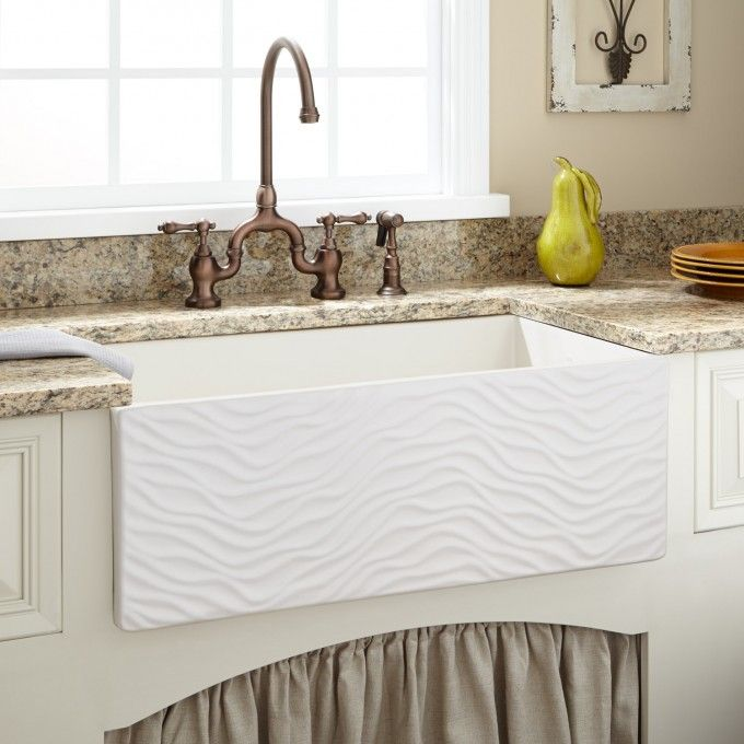 30 Elam Reversible Fireclay Farmhouse Sink Ripple Front Fireclay Farmhouse Sink Farmhouse Sink Farmhouse Sink Kitchen