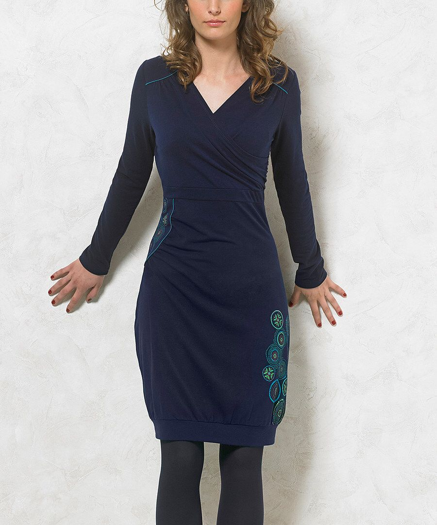 Look at this Coline USA Navy Medallion Surplice Dress on #zulily today!